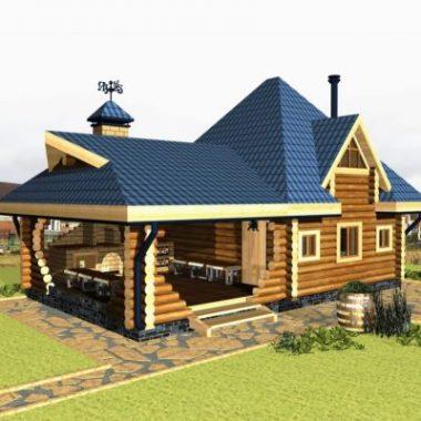 Двухэтажный деревянный летний дом из бревна, пос. Карасьеозерский, 55 кв.м
